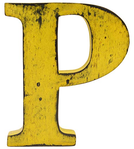 (Yellow,Letter P) Shabby Chic Vintage Large 11 cm Wooden Free.