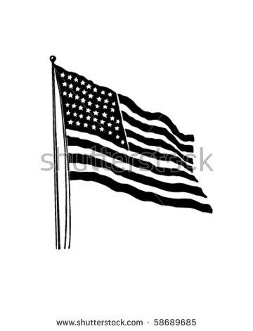 Black American Flag Vector.
