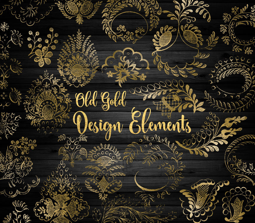Old Gold Design Elements Clipart.