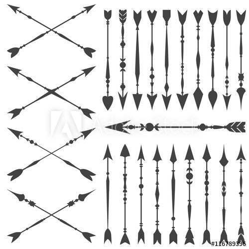 Arrow clip art set in on white background. Collection of.