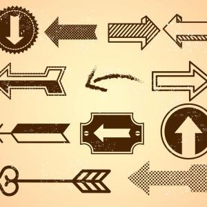 Free Vintage Arrows In Grunge Style Vectors.