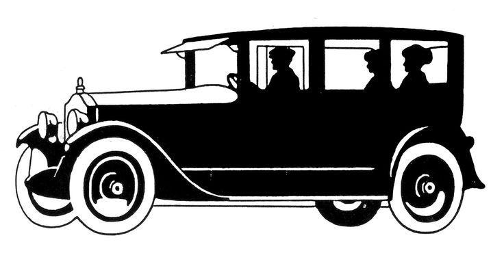 Silhouette vintage car clipart.