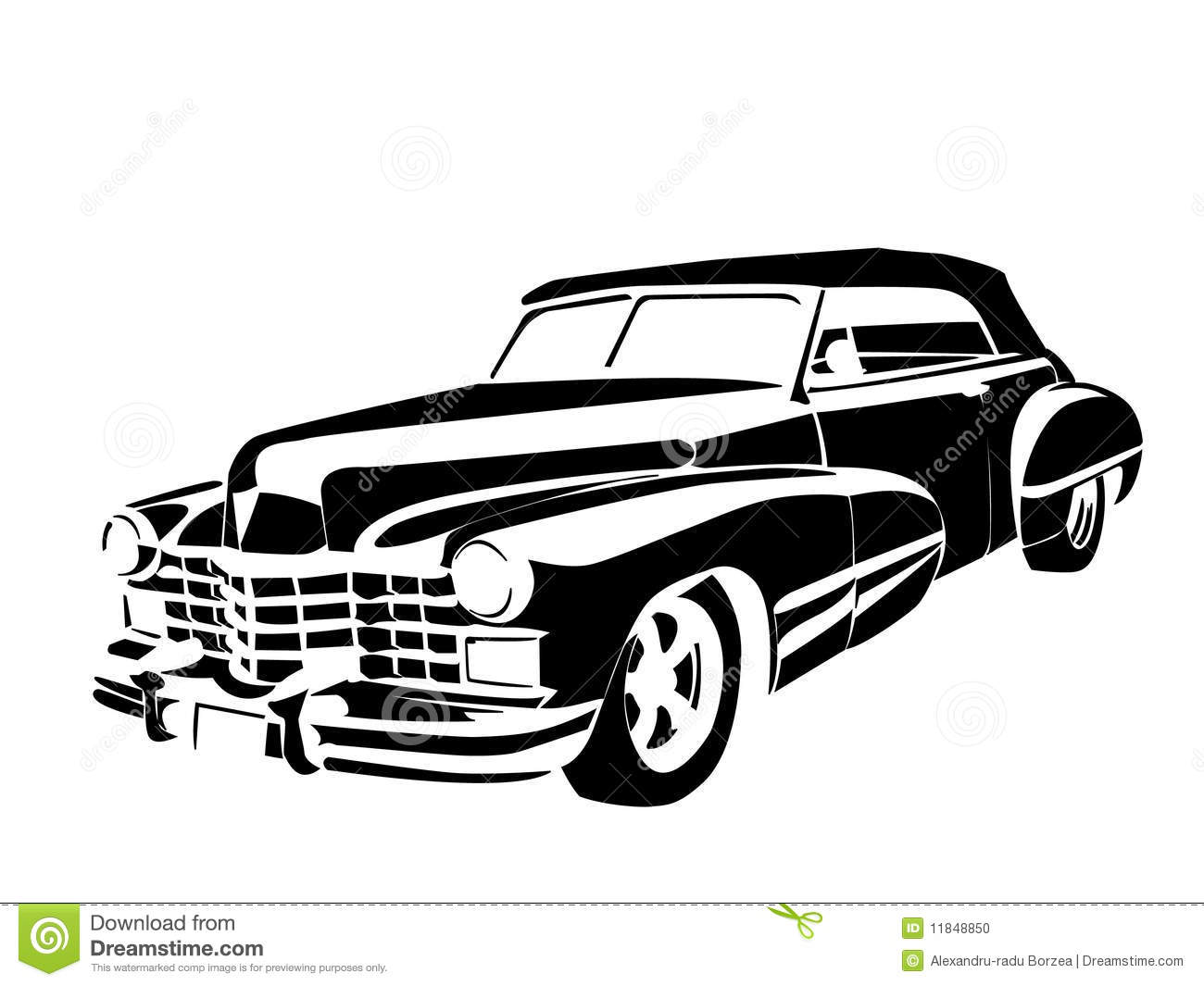 classic car black and white clipart #2