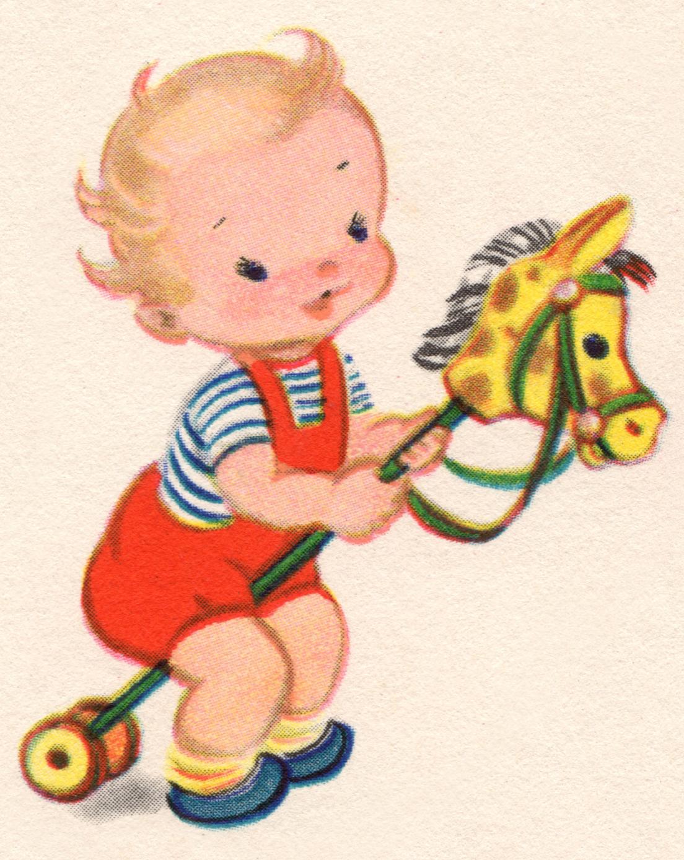 Vintage Clip Art: Baby Boy.