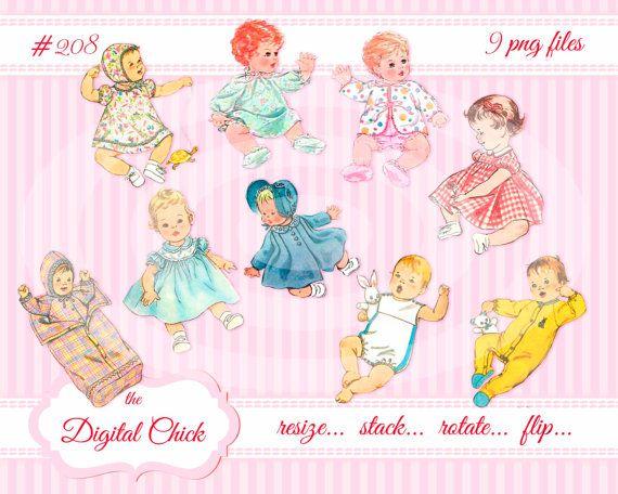 Digital Clipart, instant download, vintage baby images, clip.
