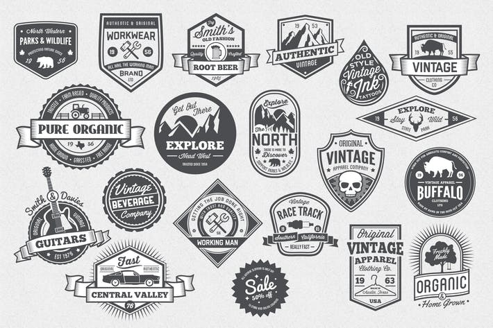 20 Vintage Style Badges and Logos by GraphicMonkee on Envato Elements.