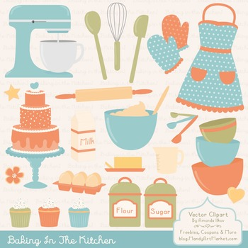 In The Kitchen Baking Clipart & Vectors in Vintage.