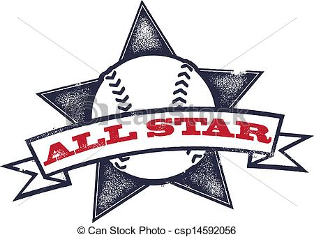 Clipart Vector of All Star Baseball or Softball.