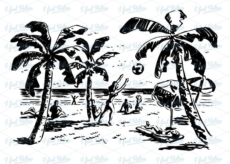 Vintage Beach Cliparts 1.