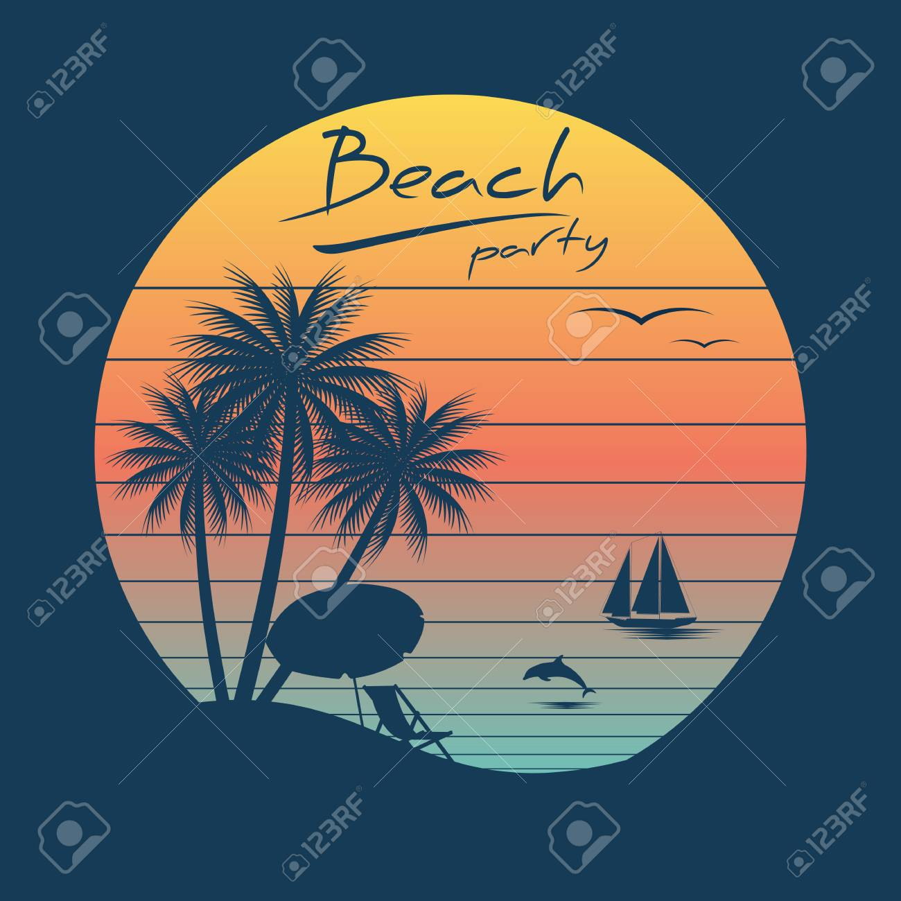 Vintage Beach Cliparts.