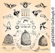 Vintage Bee Clip Art.