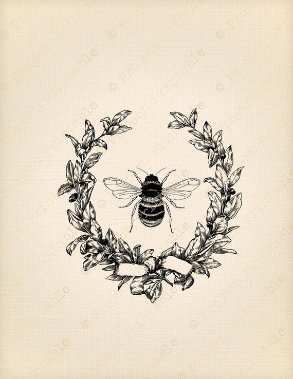 Instant Download Printable Graphics Vintage Pretty HONEY BEE.