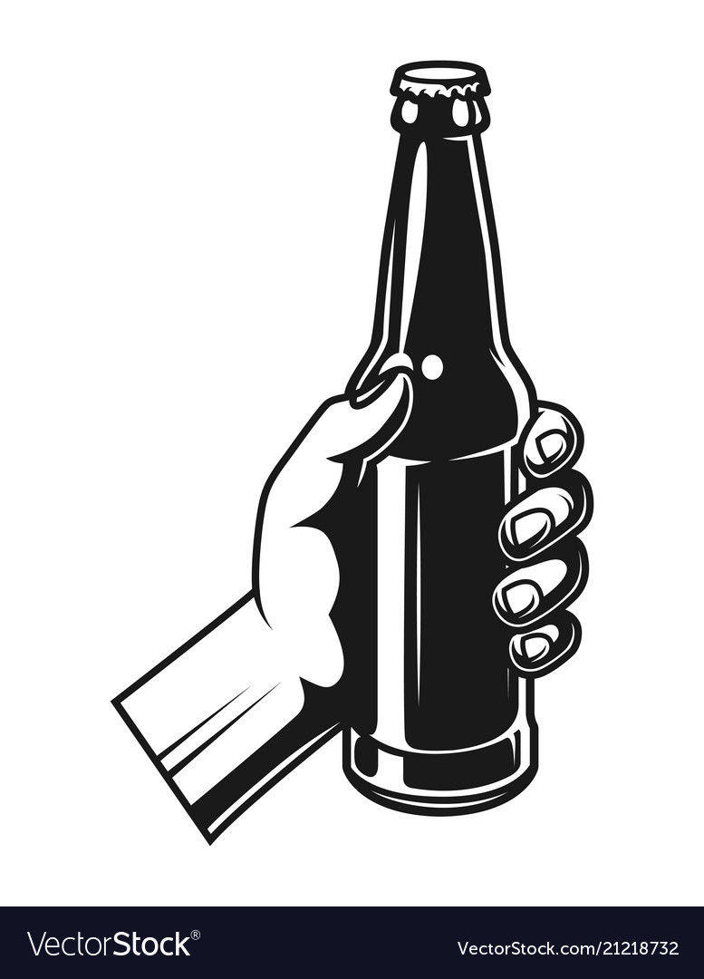 Vintage hand holding beer bottle.