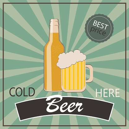 Vintage poster template for cold beer. Bottle and glass of.