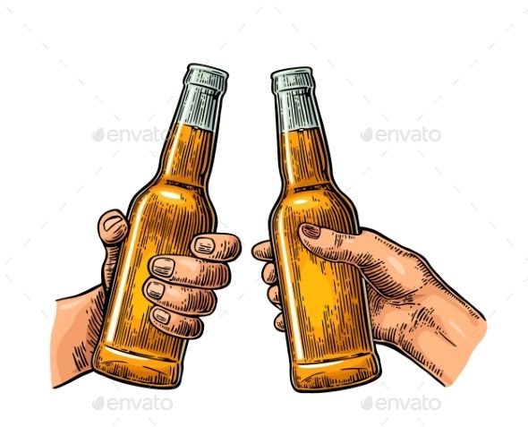 Female and male hands holding and clinking open beer bottles.