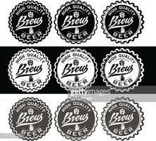 Set of Vintage Beer Labels stock vectors.