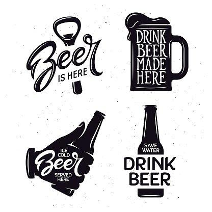 Beer Related Typography Vector Vintage Lettering premium.