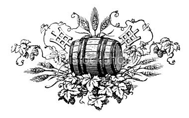 XIX century beer vignette with hop leaves, cones, grain, and.