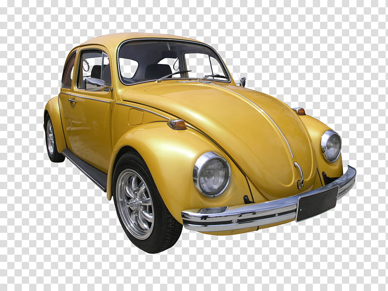 Yellow beetle car transparent background PNG clipart.