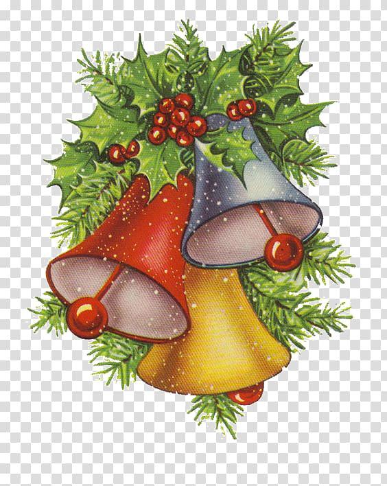 Christmas card Jingle bell , Vintage bells transparent.