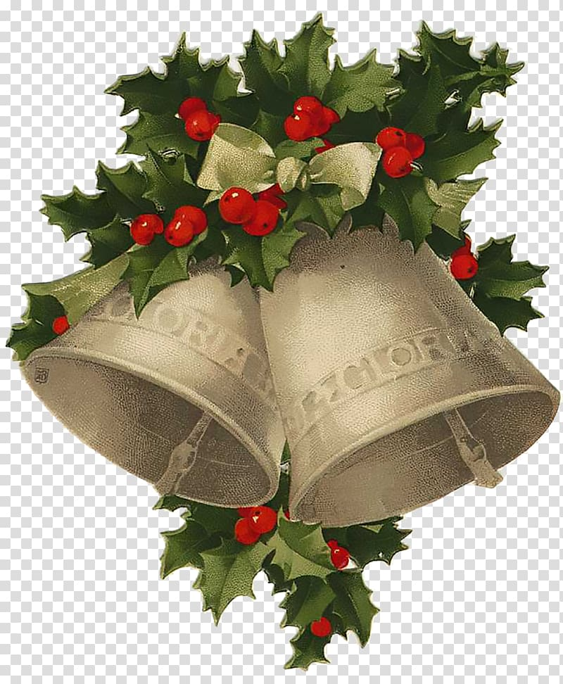 Santa Claus Christmas Jingle bell , vintage card transparent.