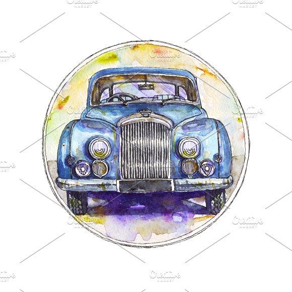 Watercolor/Ink/Vector Bentley Car.
