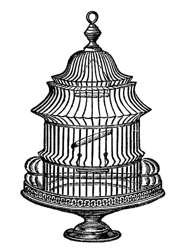 Free Vintage Bird Cage Clipart No. 2.
