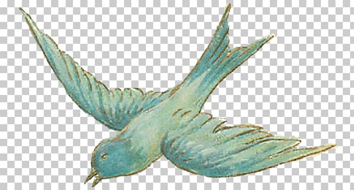 Vintage Bird Sketch, blue swallow PNG clipart.