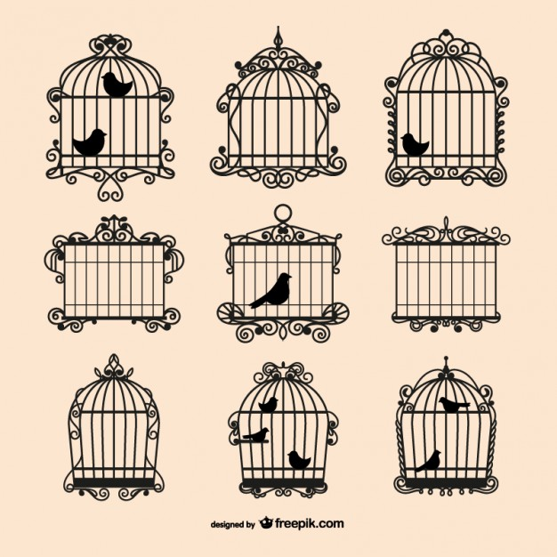 Vintage birdcages collection Vector.