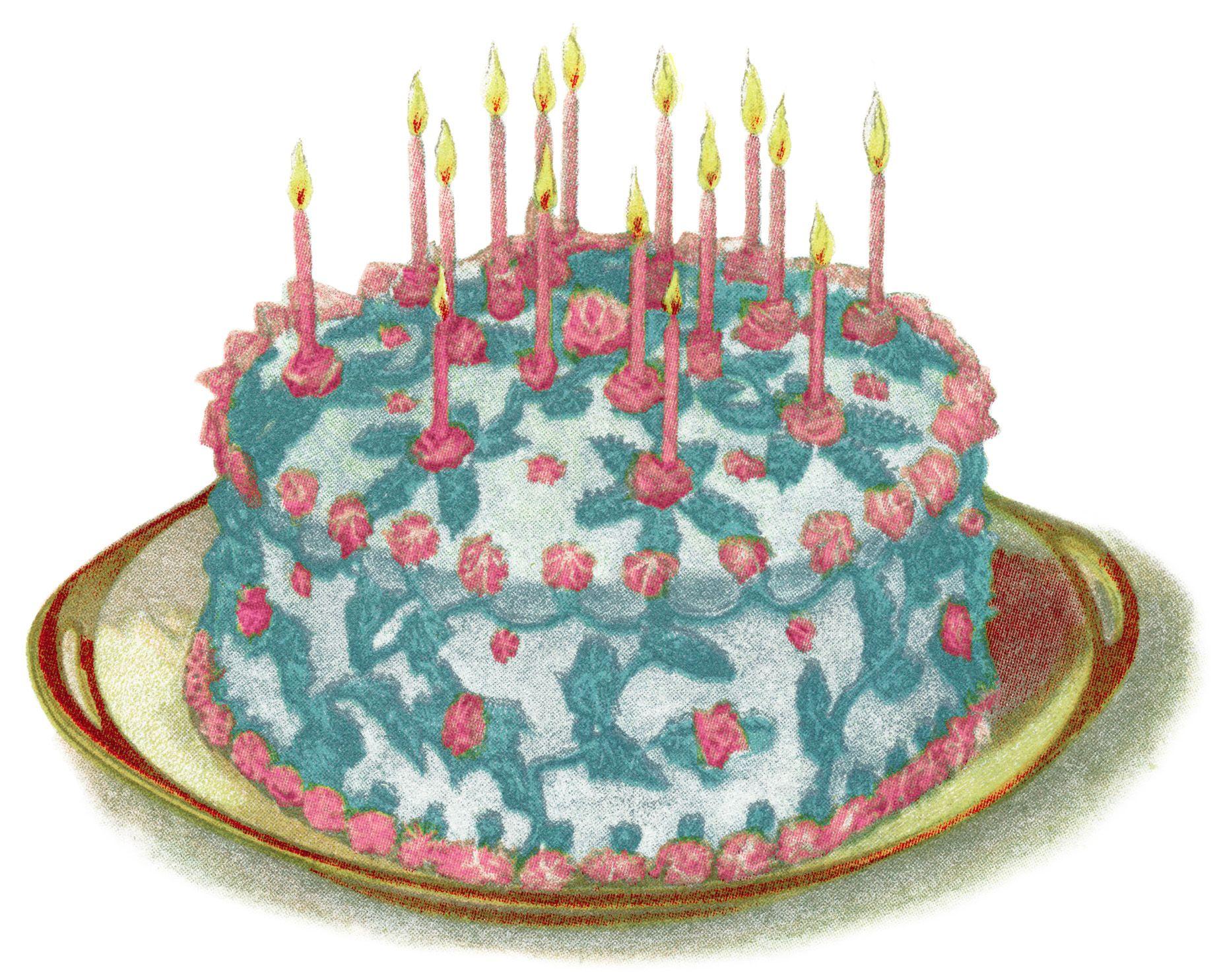 vintage cake clip art, birthday cake illustration, vintage.