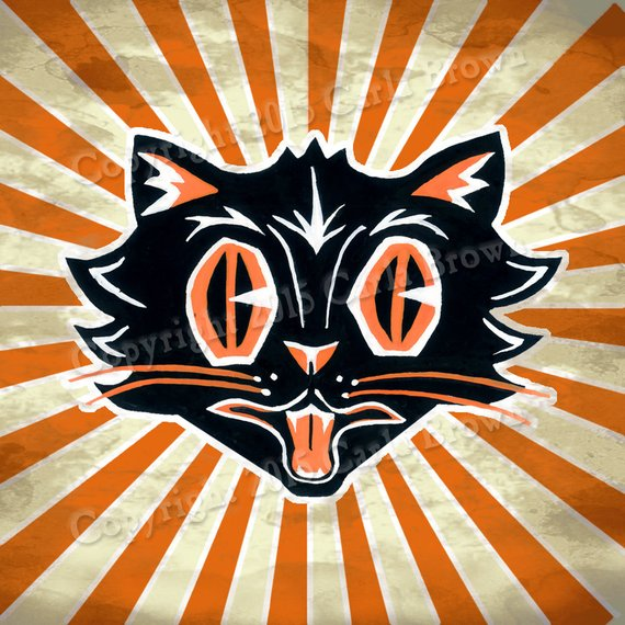 Retro Halloween Cat Clipart Vintage Style Download clip art.