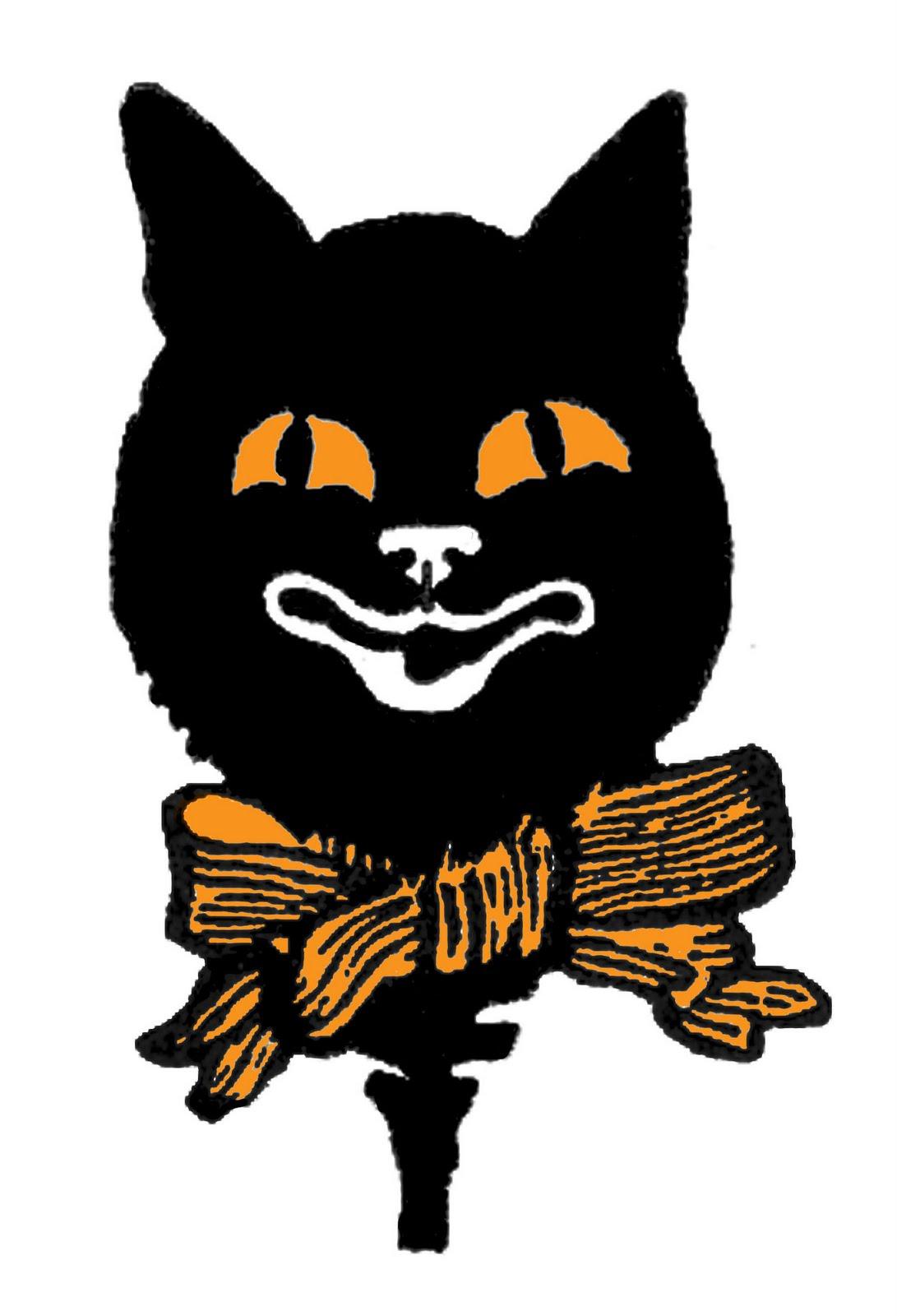 Vintage Halloween Clipart Cat.