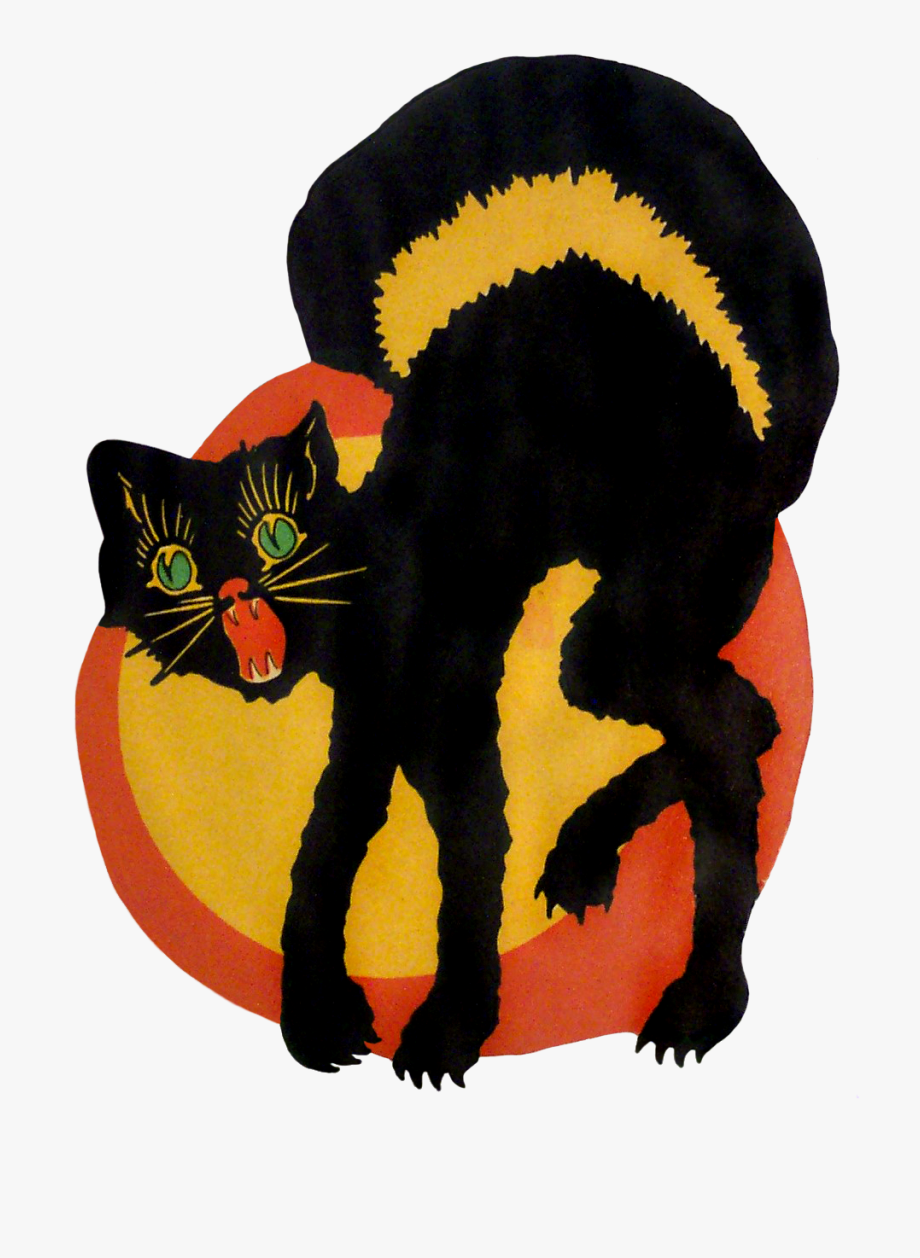 Vintage Halloween Cat Clipart , Png Download.