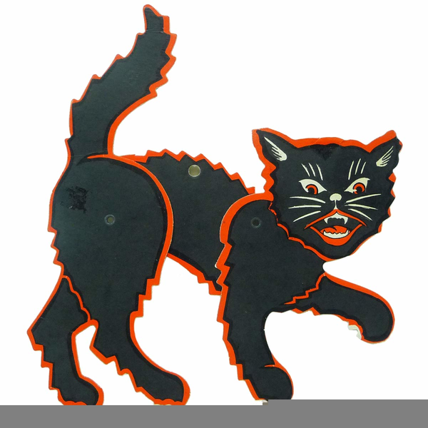 Vintage Black Cat Halloween Clipart.