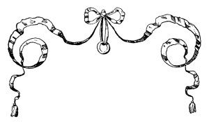 vintage bow clipart, black and white clip art, ornamental.