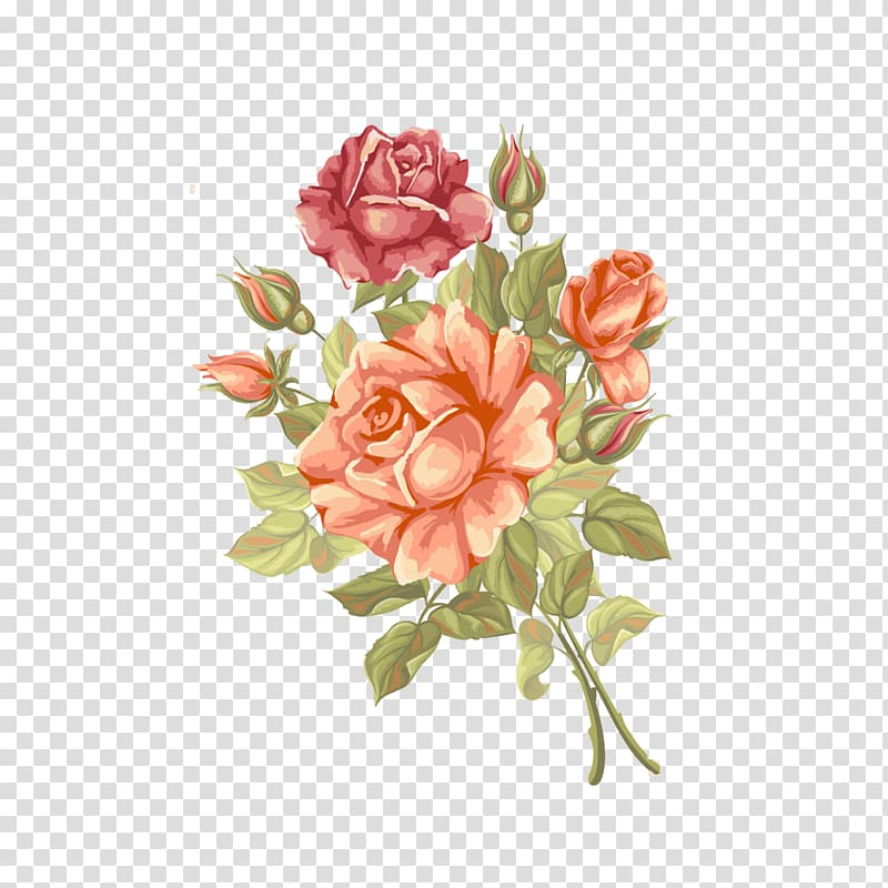 Orange and red rose flowers painting, Rose Flower Greeting.