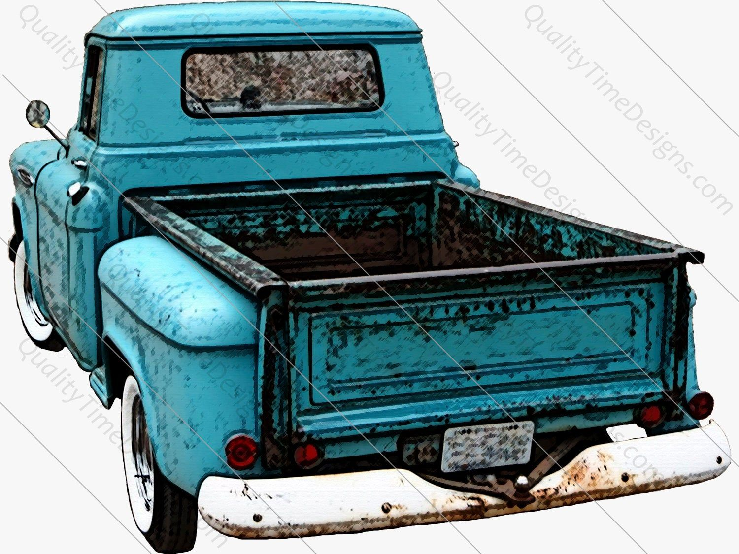 Blue Drawing Watercolor Vintage Truck Clipart Rusty Rustic.