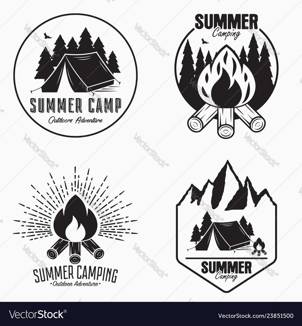Vintage summer camp logo set camping badges and.