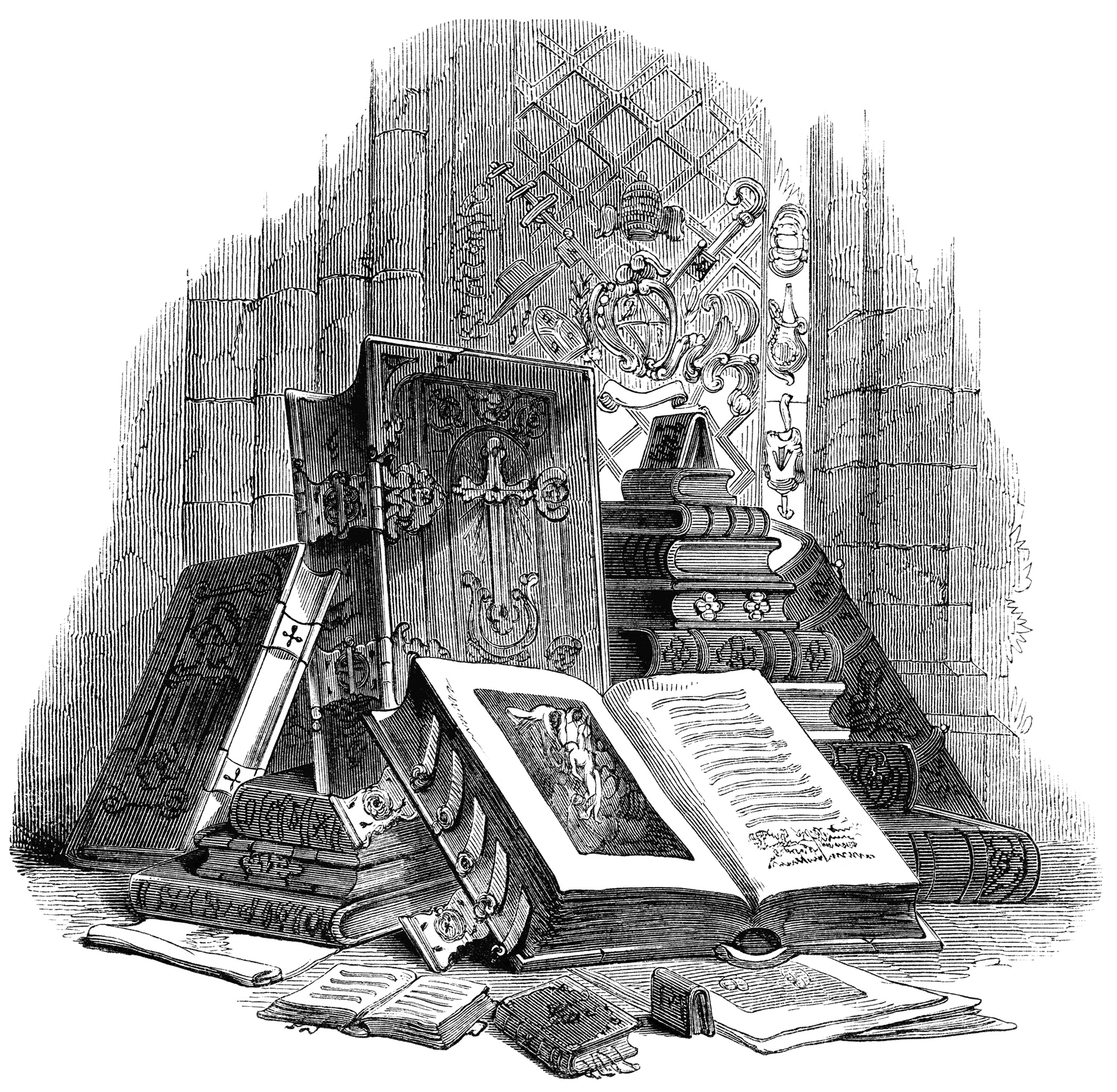 Pyramid of Devotional Books ~ Free Vintage Clip Art.