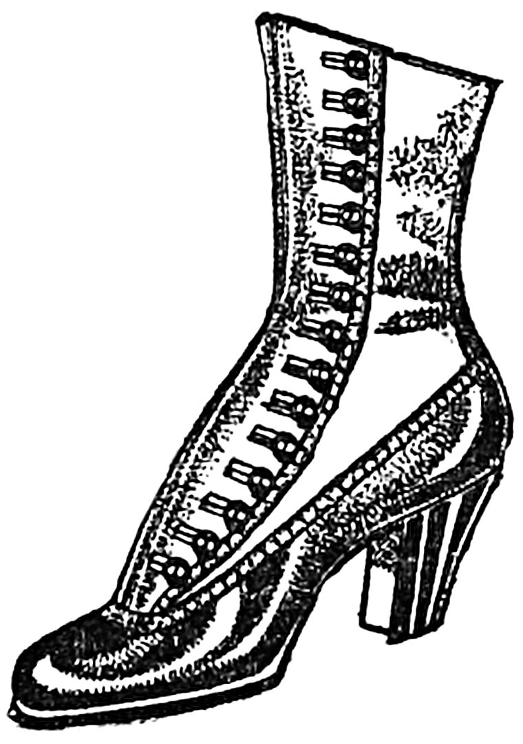 Vintage Woman\'s Boot public domain clipart.
