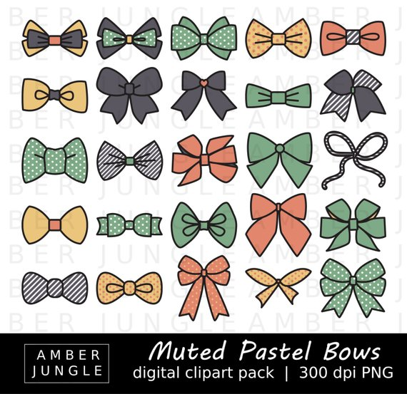 Muted Pastel Bows Clipart.