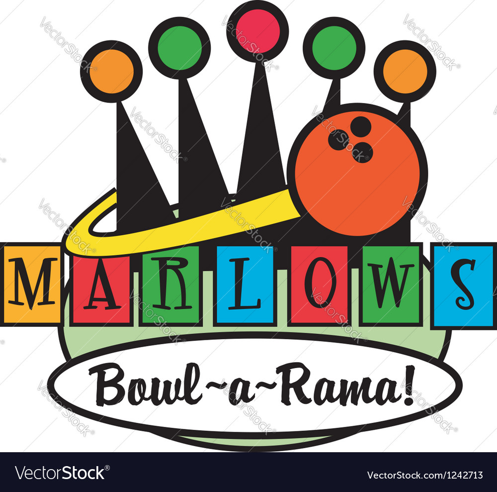 Retro Bowling Alley logos Vector Image by ClipArt4U.