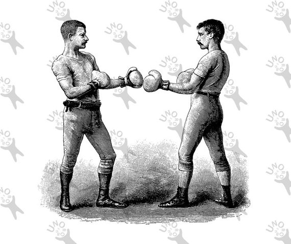 Vintage image Box Fight Boxing Boxers drawing Instant.