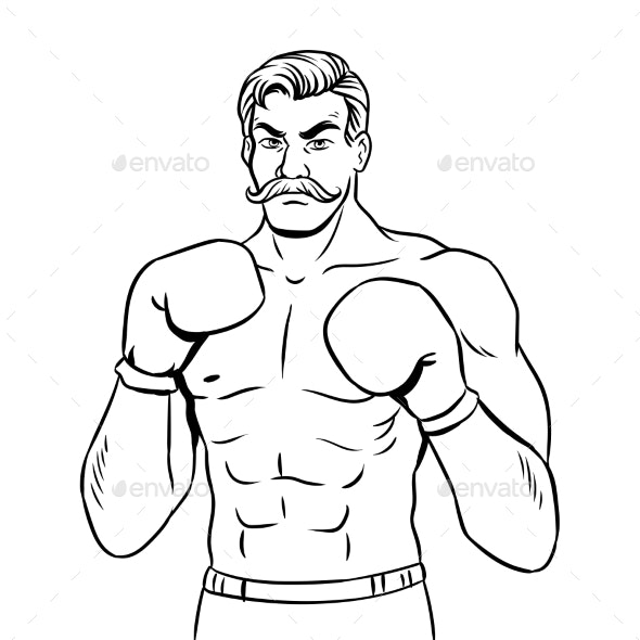 Vintage Boxer Fighter Coloring Book Vector.