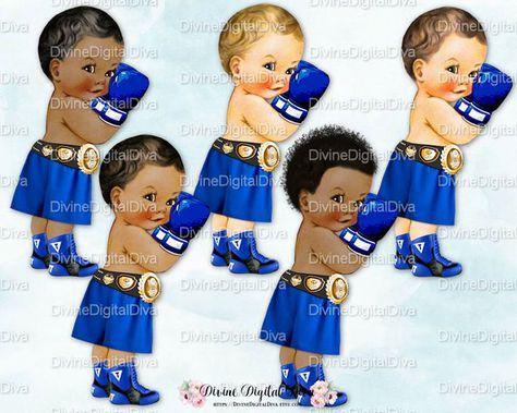 Boxer Royal Blue Shorts Gloves & Gold Championship Belt.