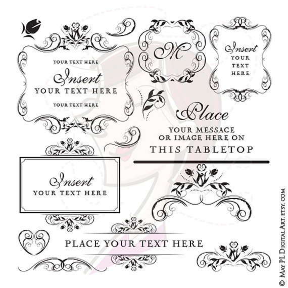 Instant Download Wedding Frames Monogram Floral Digital Clip Art.