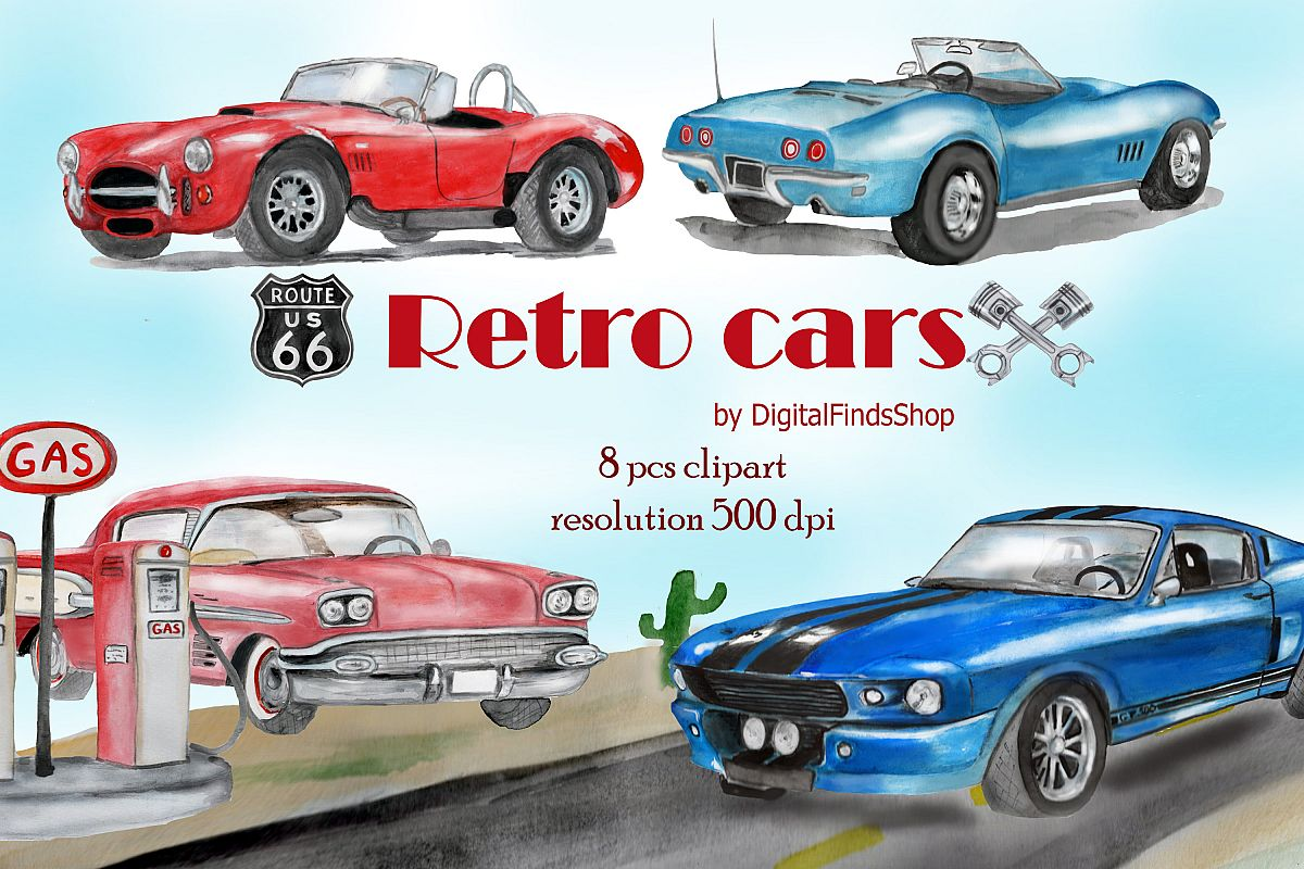 Car clipart, vehicle watercolor clipart with vintage cars.