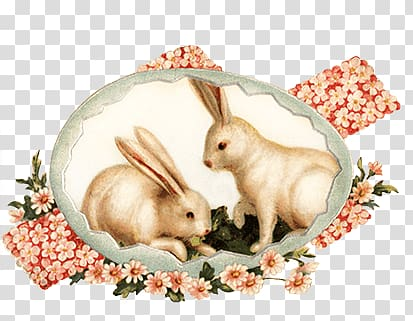 Two white rabbit digital painting, Easter Bunnies Vintage.
