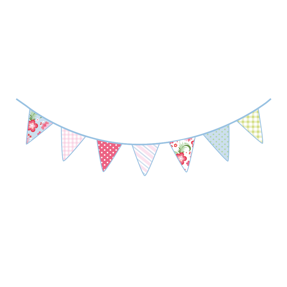 Vintage Bunting Wall Stickers.