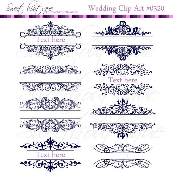 Vintage Calligraphy Clip Art, Clipart, Wedding Invitation.